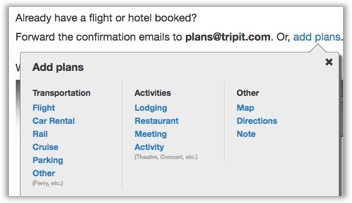 Add a new trip using the website – TripIt Help Center